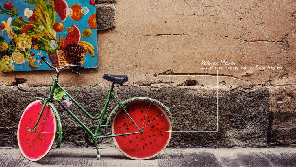 Bild von einem lustigen Fahrrad als Gestaltungsanregung